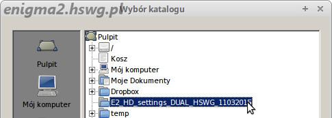 Folder z listami kanałów
